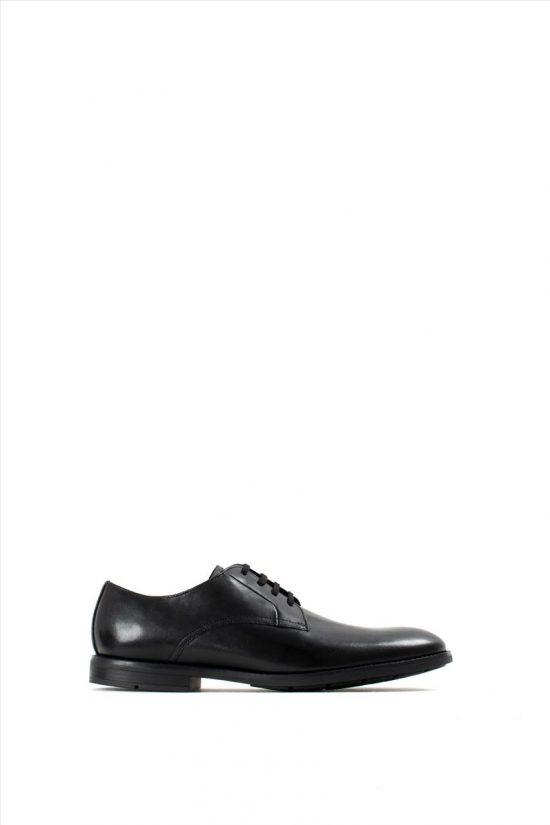 Ανδρικά Δερμάτινα Δετά Παπούτσια CLARKS RONNIE WALK BLACK LEATHER
