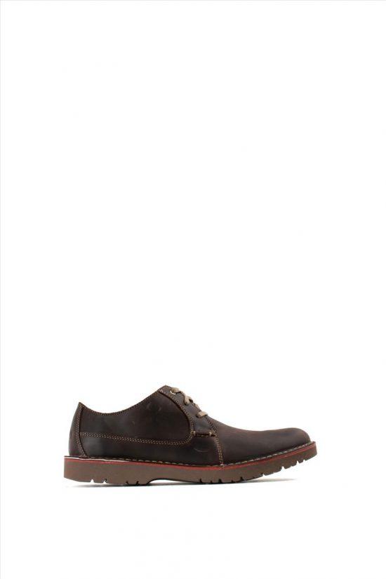 Ανδρικά Δερμάτινα Δετά Παπούτσια CLARKS VARGO PLAIN DARK BROWN LEATHER