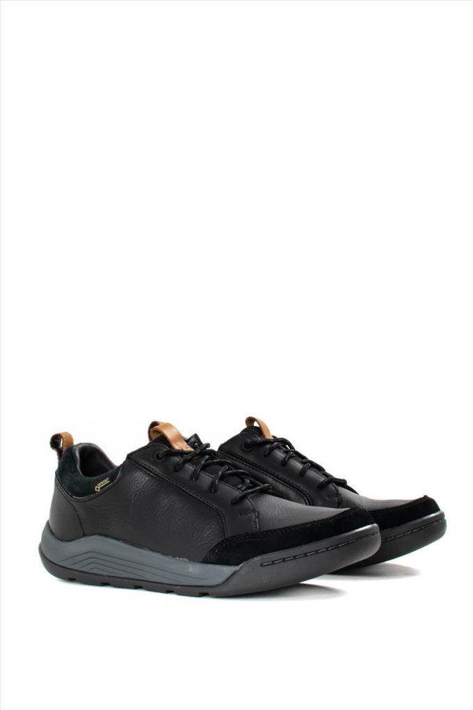 Ανδρικά Δερμάτινα Caual Shoes CLARKS ASHCOMBE BAY GTX BLACK