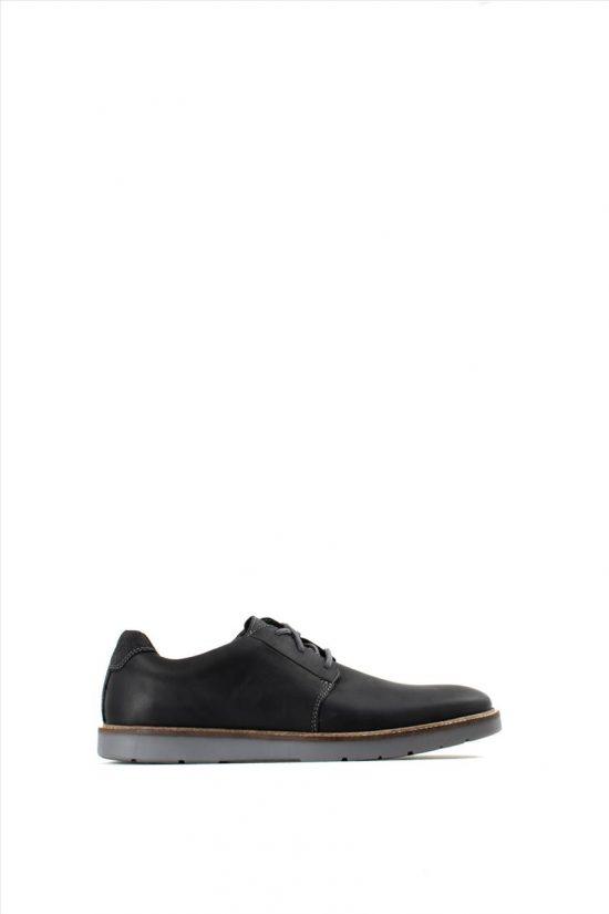 CLARKS GRANDIN PLAIN BLACK LEATHER Ανδρικά Δερμάτινα Δέτα Παπούτσια