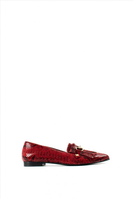 Γυναικεία Loafers Λουστρίνι WALL STREET 2-156-19703-28 RED SNAKE