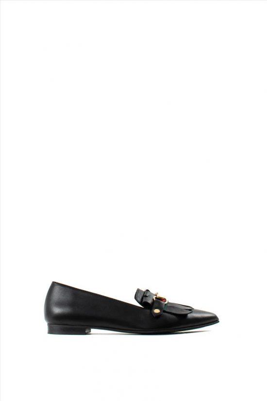 Γυναικεία Δερμάτινα Loafers WALL STREET 2-156-19701-28 BLACK