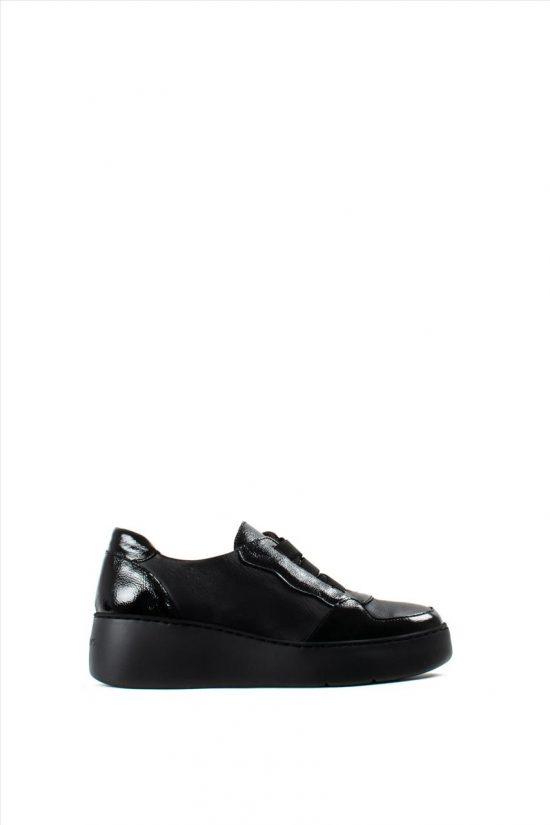 Γυναικεία Δερμάτινα Casual Shoes WONDERS A-8333 BLACK