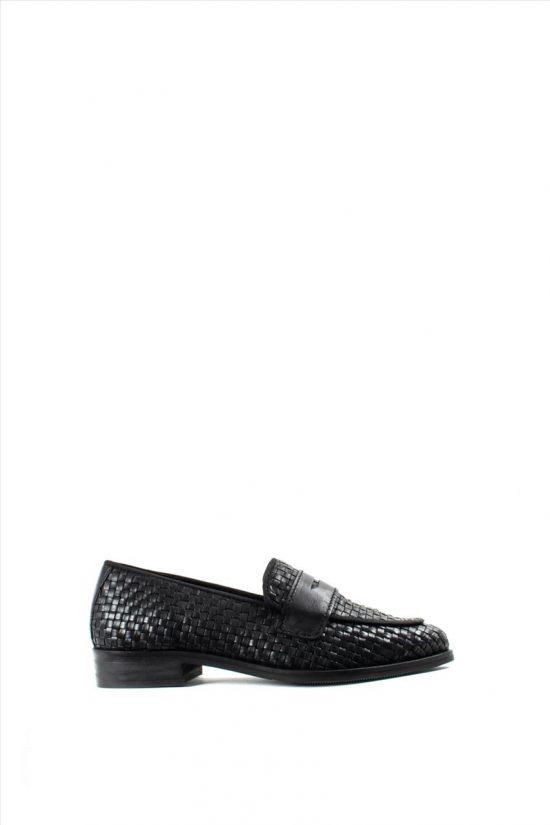 Γυναικεία Δερμάτινα Loafers MOSAIC 66263 BLACK