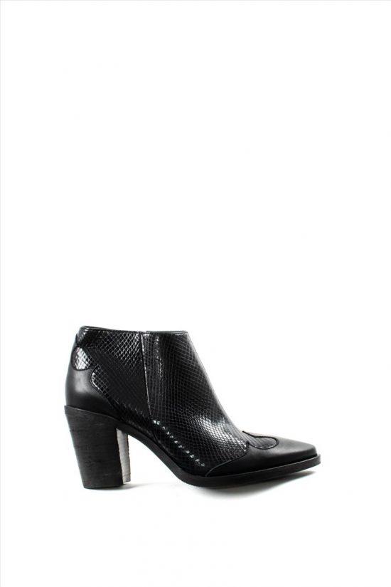 Γυναικεία Δερμάτινα Ankle Boots MOURTZI 7/76003 BLACK