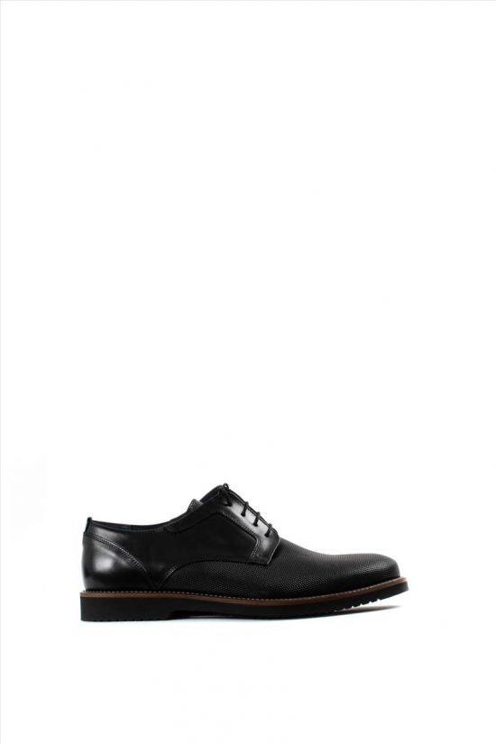 Ανδρικά Δερμάτινα Δετά Παπούτσια LA PELLE 1012/157 BLACK