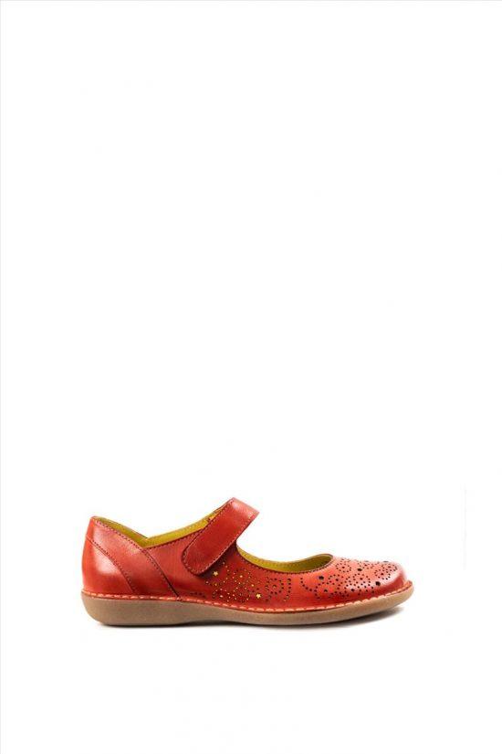 Γυναικεία Δερμάτινα Casual Shoes CHACAL 5003 KOKKINO