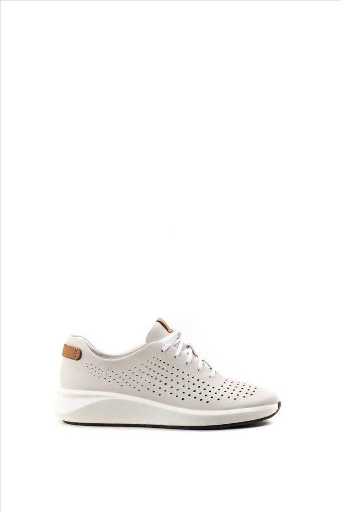 Γυναικεία Δερμάτινα Sneakers CLARKS UN RIO TIE WHITE