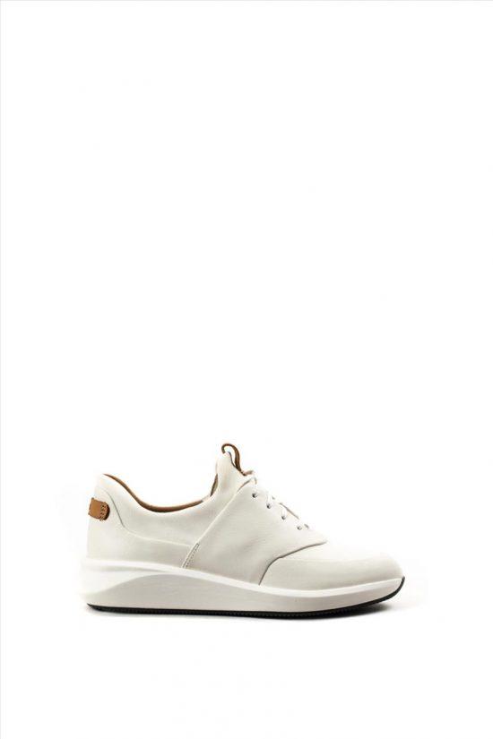 Γυναικεία Δερμάτινα Casual Shoes CLARKS UN RIO LACE WHITE