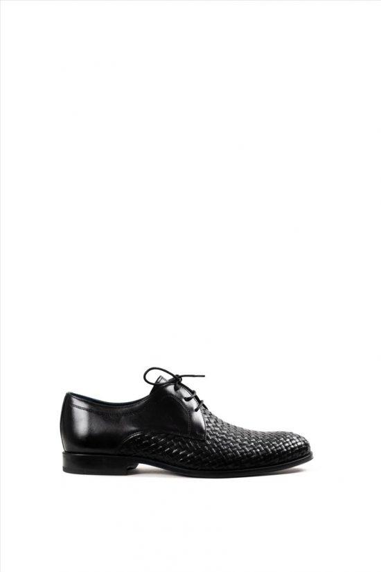 Ανδρικά Δερμάτινα Δετά Παπούτσια DAMIANI 20-01-1201 ΜΑΥΡΟ