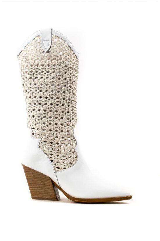 Γυναικείες Δερμάτινες Μπότες SANTE 20-163 ΛΕΥΚΟ